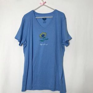Life is Good Sunflower Classic Fit Cool Tee Blue